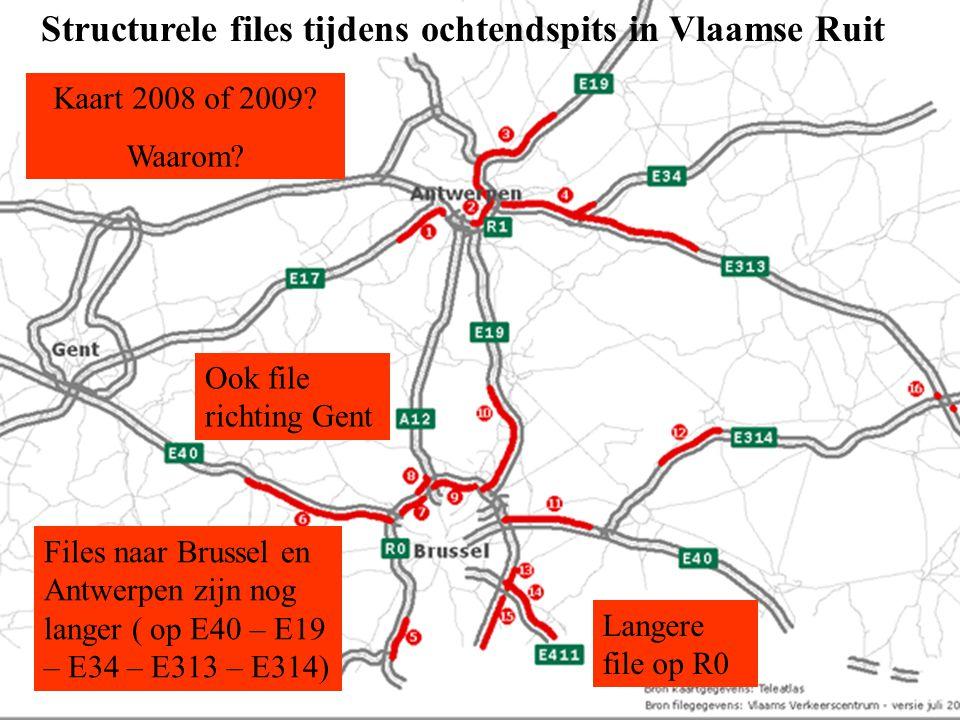 Structurele files tijdens ochtendspits in Vlaamse Ruit Kaart 2008 of 2009? Waarom? Files naar Brussel en Antwerpen zijn nog langer ( op E40 – E19 – E3