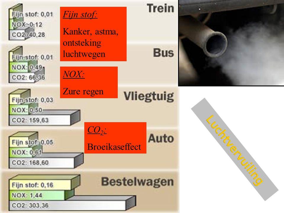 Fijn stof: Kanker, astma, ontsteking luchtwegen NOX: Zure regen CO 2 : Broeikaseffect