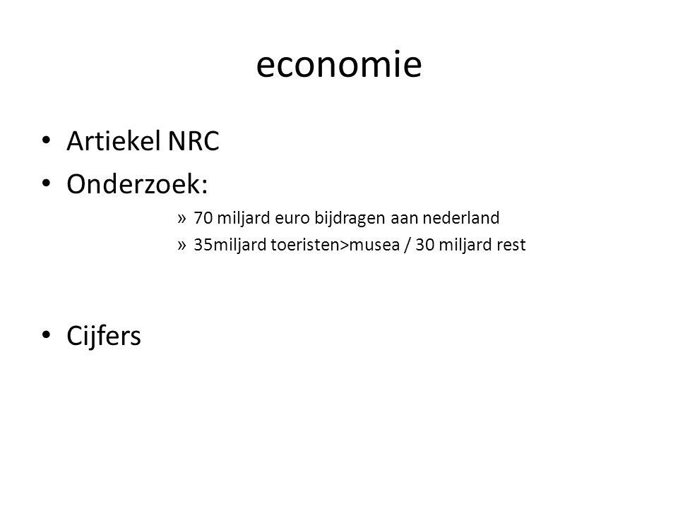 economie Artiekel NRC Onderzoek: » 70 miljard euro bijdragen aan nederland » 35miljard toeristen>musea / 30 miljard rest Cijfers