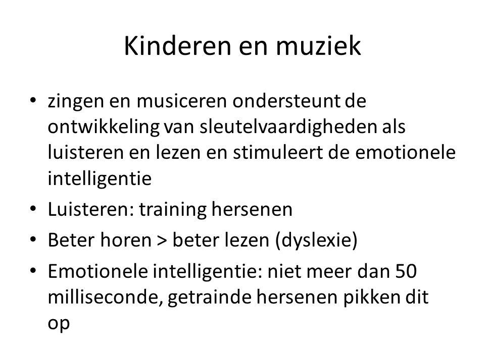 Kinderen en muziek zingen en musiceren ondersteunt de ontwikkeling van sleutelvaardigheden als luisteren en lezen en stimuleert de emotionele intelligentie Luisteren: training hersenen Beter horen > beter lezen (dyslexie) Emotionele intelligentie: niet meer dan 50 milliseconde, getrainde hersenen pikken dit op