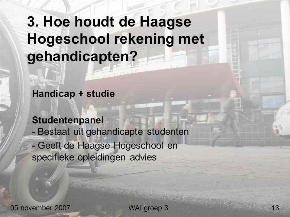 3. Hoe houdt de Haagse Hogeschool rekening met gehandicapten? Handicap + studie Studentenpanel - Bestaat uit gehandicapte studenten - Geeft de Haagse