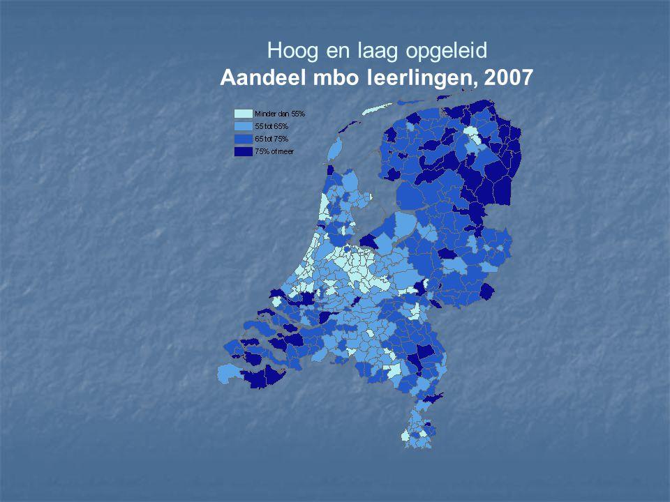 Hoog en laag opgeleid Aandeel mbo leerlingen, 2007