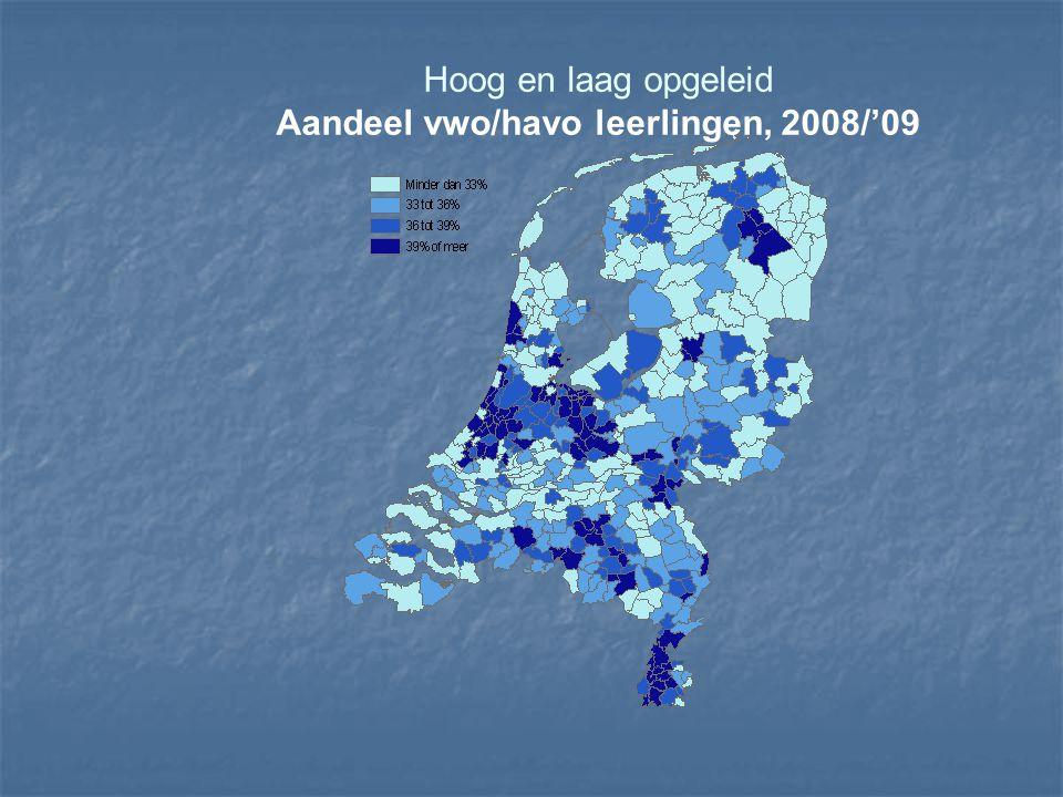 Hoog en laag opgeleid Aandeel vwo/havo leerlingen, 2008/'09