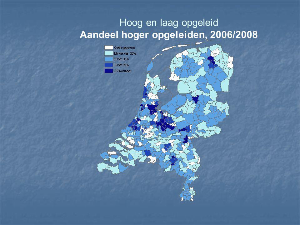 Hoog en laag opgeleid Aandeel hoger opgeleiden, 2006/2008