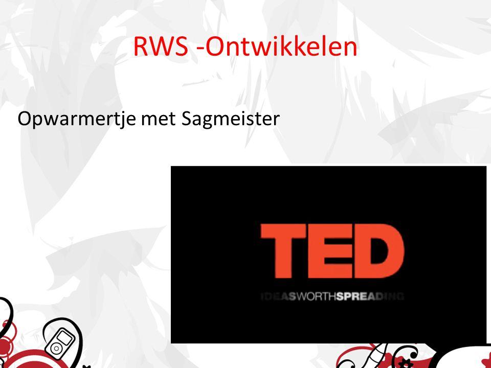 RWS -Ontwikkelen Opwarmertje met Sagmeister