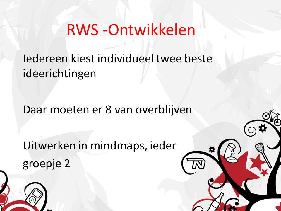 RWS -Ontwikkelen Iedereen kiest individueel twee beste ideerichtingen Daar moeten er 8 van overblijven Uitwerken in mindmaps, ieder groepje 2