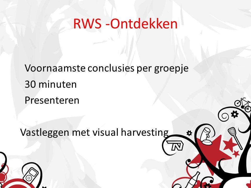 RWS -Ontdekken Voornaamste conclusies per groepje 30 minuten Presenteren Vastleggen met visual harvesting