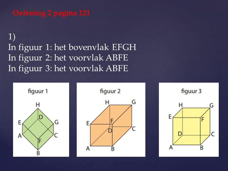 1) In figuur 1: het bovenvlak EFGH In figuur 2: het voorvlak ABFE In figuur 3: het voorvlak ABFE Oefening 2 pagina 121