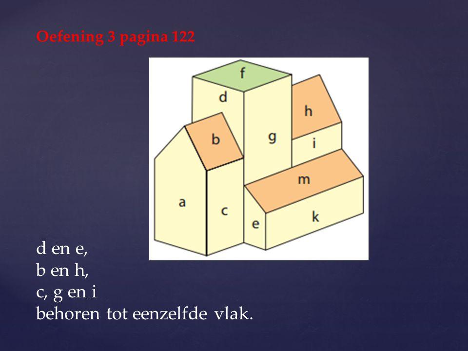 d en e, b en h, c, g en i behoren tot eenzelfde vlak. Oefening 3 pagina 122