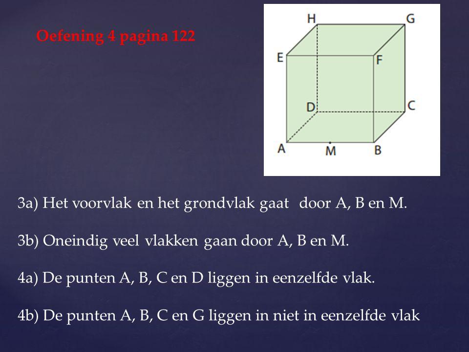 3a) Het voorvlak en het grondvlak gaat door A, B en M. 3b) Oneindig veel vlakken gaan door A, B en M. 4a) De punten A, B, C en D liggen in eenzelfde v