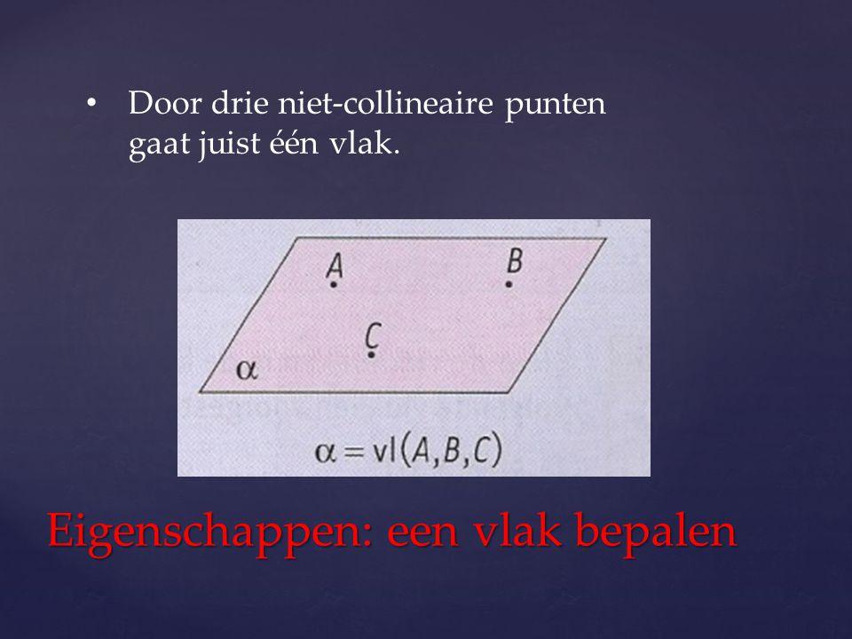Door drie niet-collineaire punten gaat juist één vlak. Eigenschappen: een vlak bepalen