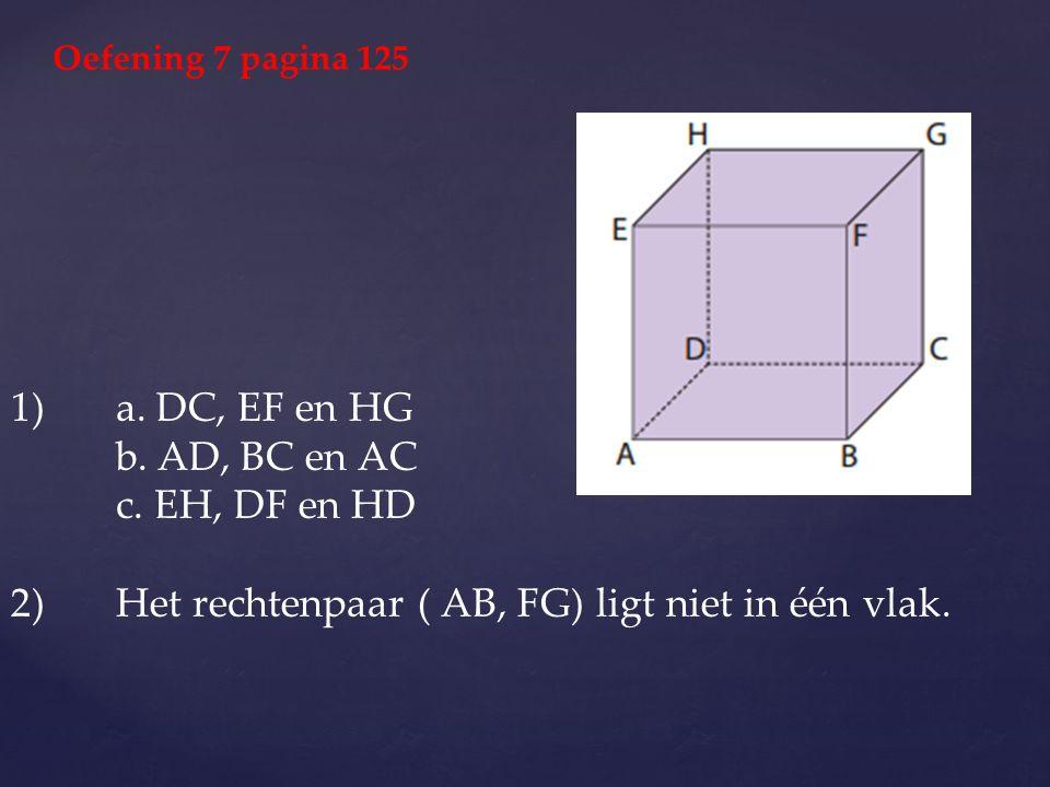 1) a. DC, EF en HG b. AD, BC en AC c. EH, DF en HD 2) Het rechtenpaar ( AB, FG) ligt niet in één vlak. Oefening 7 pagina 125
