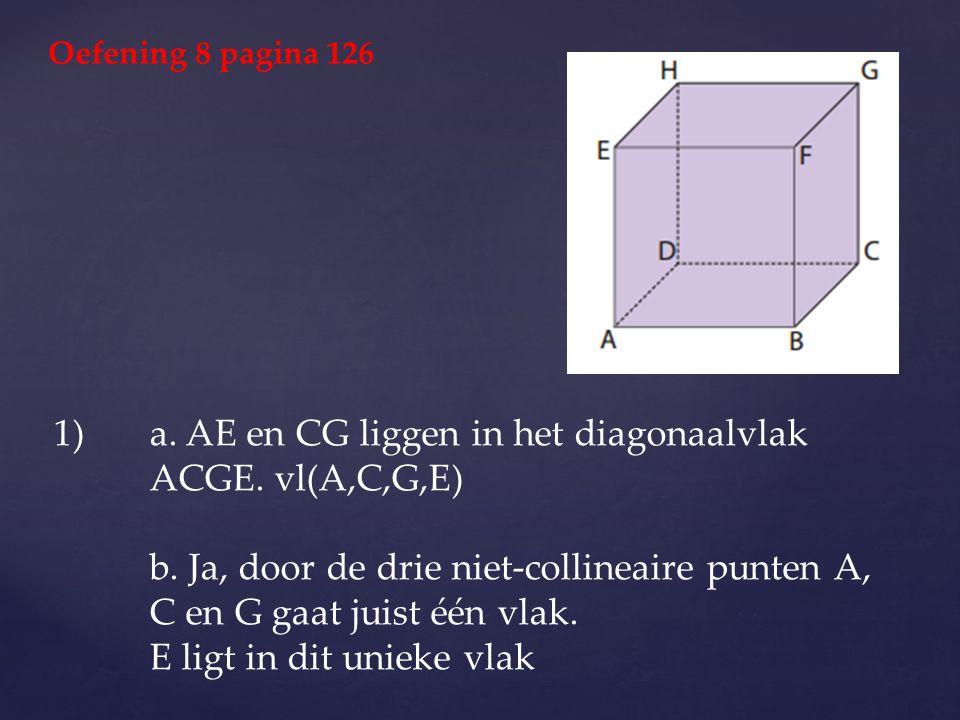 1)a. AE en CG liggen in het diagonaalvlak ACGE. vl(A,C,G,E) b. Ja, door de drie niet-collineaire punten A, C en G gaat juist één vlak. E ligt in dit u