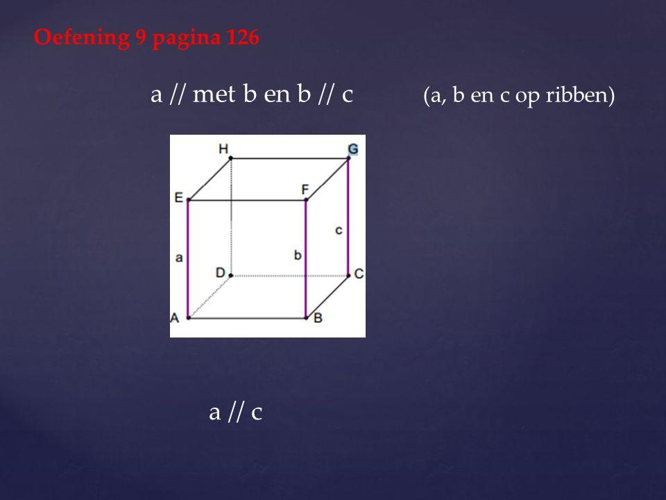 Oefening 9 pagina 126 a // met b en b // c (a, b en c op ribben) a // c