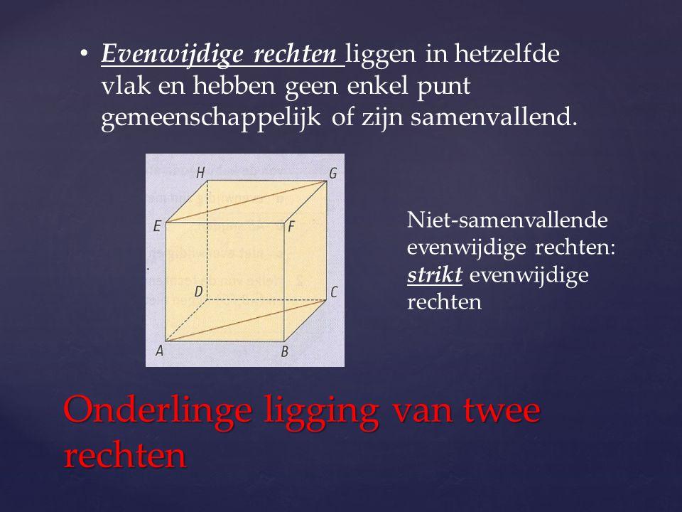 Onderlinge ligging van twee rechten Evenwijdige rechten liggen in hetzelfde vlak en hebben geen enkel punt gemeenschappelijk of zijn samenvallend. Nie