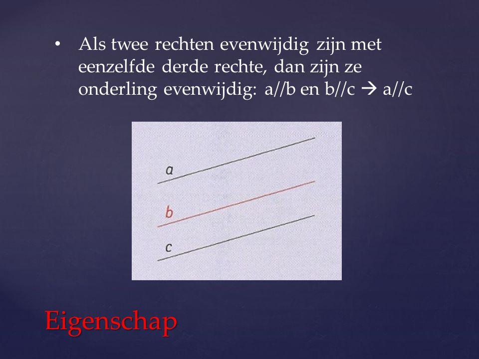 Als twee rechten evenwijdig zijn met eenzelfde derde rechte, dan zijn ze onderling evenwijdig: a//b en b//c  a//c Eigenschap