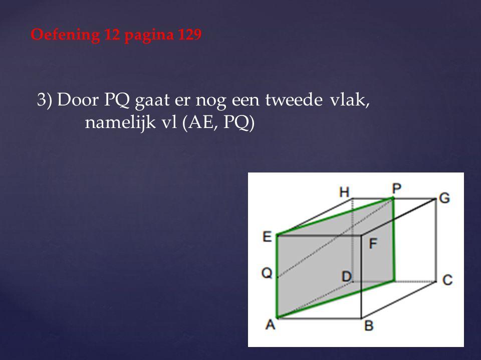 3) Door PQ gaat er nog een tweede vlak, namelijk vl (AE, PQ) Oefening 12 pagina 129