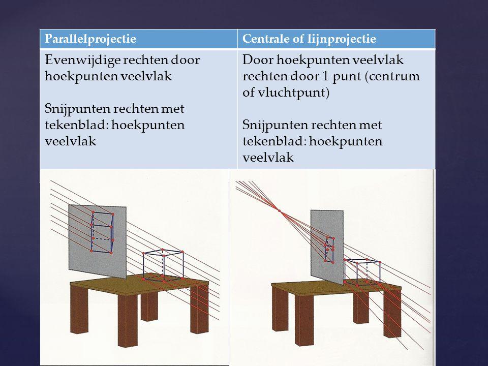 ParallelprojectieCentrale of lijnprojectie Evenwijdige rechten door hoekpunten veelvlak Snijpunten rechten met tekenblad: hoekpunten veelvlak Door hoe