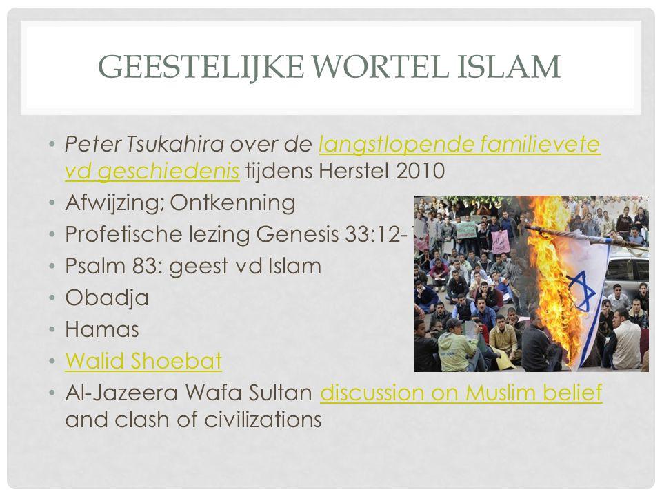 GEESTELIJKE WORTEL ISLAM Peter Tsukahira over de langstlopende familievete vd geschiedenis tijdens Herstel 2010langstlopende familievete vd geschiedenis Afwijzing; Ontkenning Profetische lezing Genesis 33:12-16 Psalm 83: geest vd Islam Obadja Hamas Walid Shoebat Al-Jazeera Wafa Sultan discussion on Muslim belief and clash of civilizationsdiscussion on Muslim belief