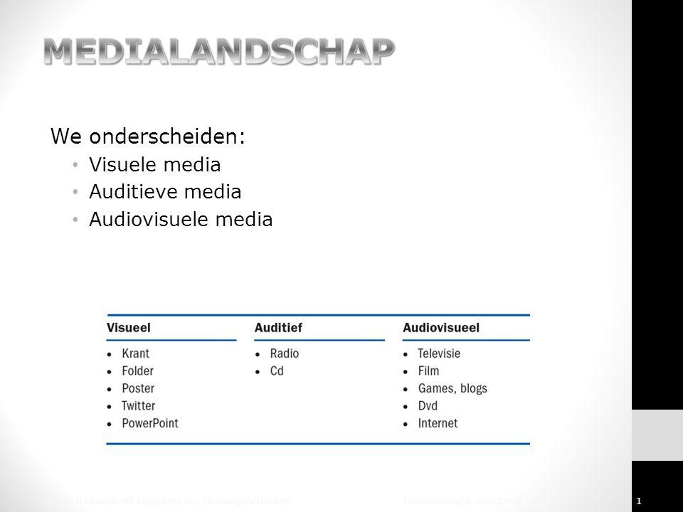 We onderscheiden: Visuele media Auditieve media Audiovisuele media © 2010 Noordhoff Uitgevers bv, Groningen/Houten Communicatie Handboek 1