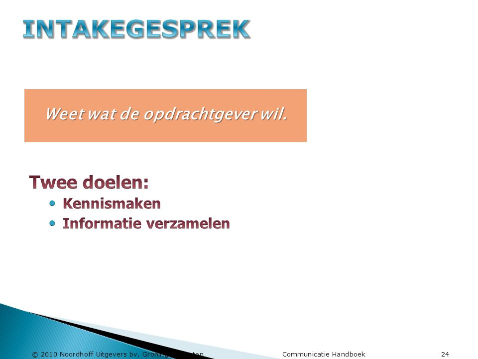 © 2010 Noordhoff Uitgevers bv, Groningen/Houten Communicatie Handboek 24 Weet wat de opdrachtgever wil.