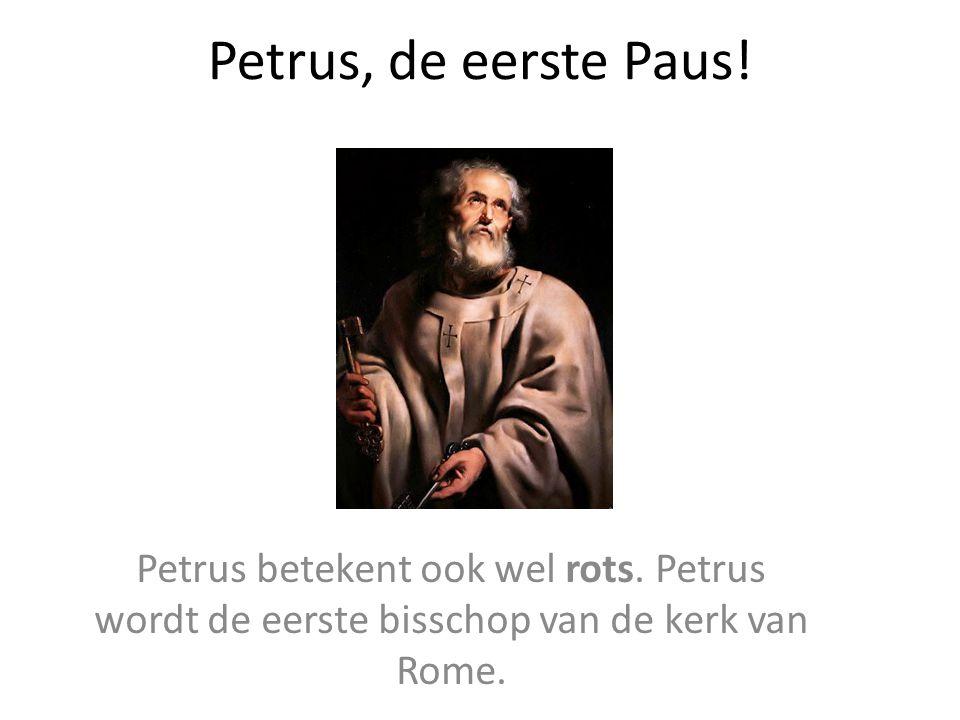 Petrus, de eerste Paus.Petrus betekent ook wel rots.