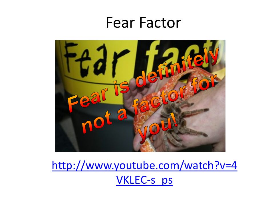 Fear Factor http://www.youtube.com/watch?v=4 VKLEC-s_ps