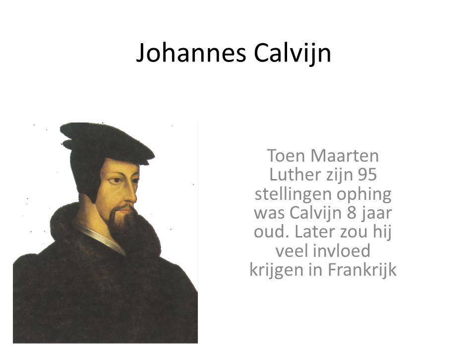 Johannes Calvijn Toen Maarten Luther zijn 95 stellingen ophing was Calvijn 8 jaar oud.