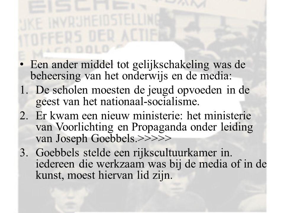 Een ander middel tot gelijkschakeling was de beheersing van het onderwijs en de media: 1.De scholen moesten de jeugd opvoeden in de geest van het nationaal-socialisme.