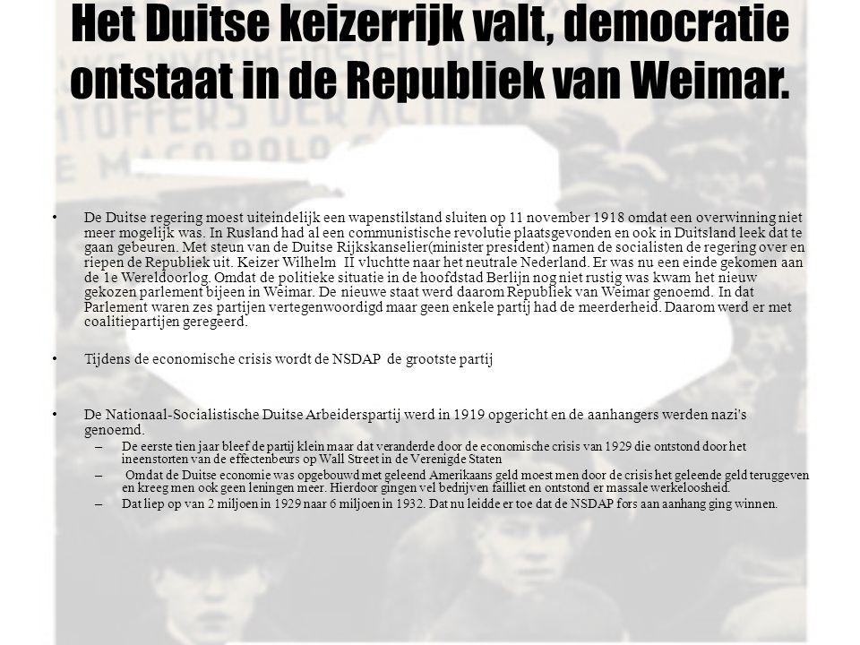 Het Duitse keizerrijk valt, democratie ontstaat in de Republiek van Weimar. De Duitse regering moest uiteindelijk een wapenstilstand sluiten op 11 nov