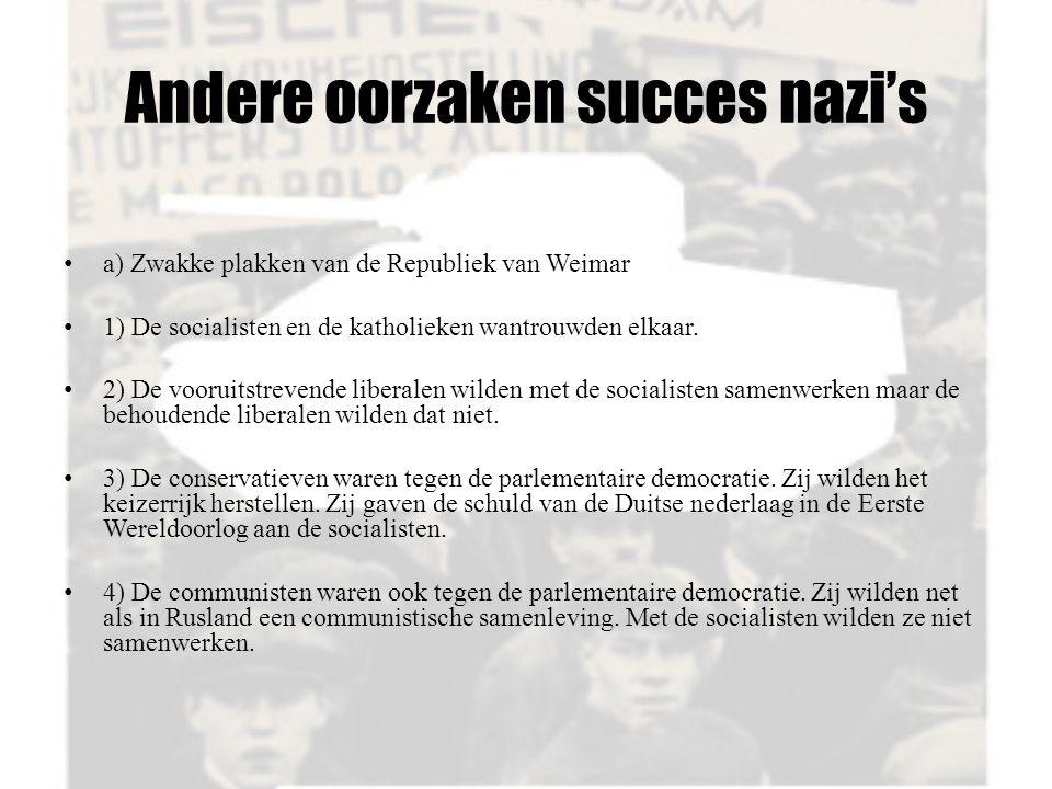 Andere oorzaken succes nazi's a) Zwakke plakken van de Republiek van Weimar 1) De socialisten en de katholieken wantrouwden elkaar. 2) De vooruitstrev