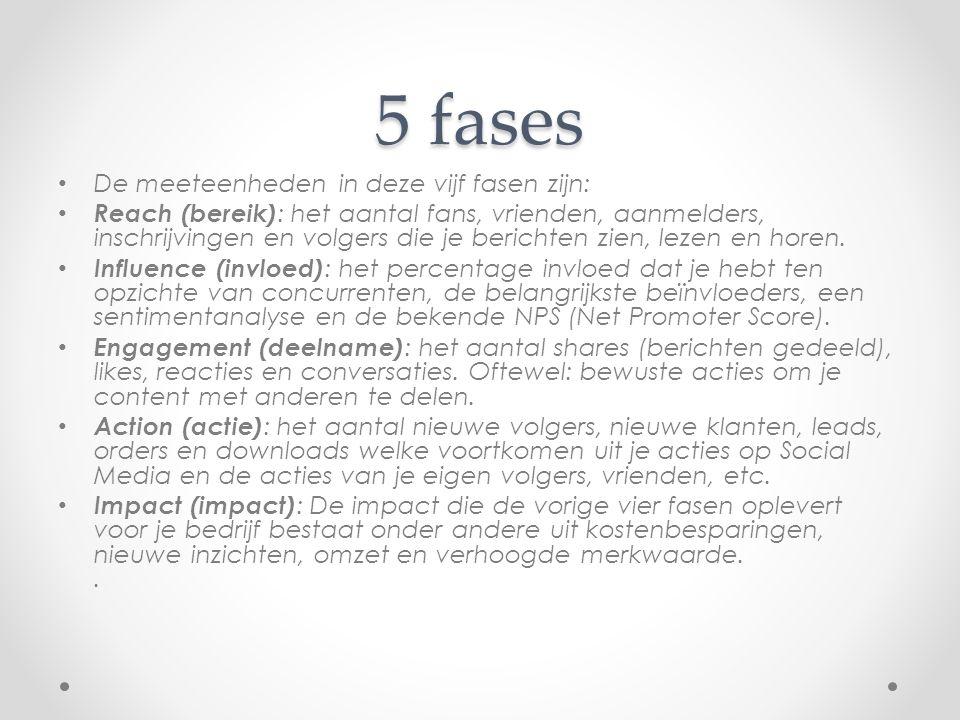 5 fases De meeteenheden in deze vijf fasen zijn: Reach (bereik) : het aantal fans, vrienden, aanmelders, inschrijvingen en volgers die je berichten zi