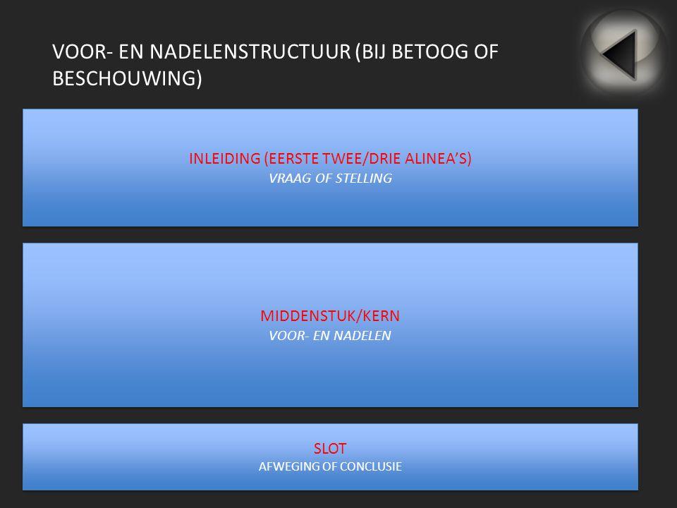 VOOR- EN NADELENSTRUCTUUR (BIJ BETOOG OF BESCHOUWING) INLEIDING (EERSTE TWEE/DRIE ALINEA'S) VRAAG OF STELLING INLEIDING (EERSTE TWEE/DRIE ALINEA'S) VR