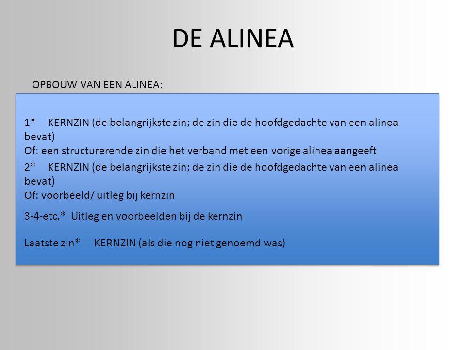 DE ALINEA OPBOUW VAN EEN ALINEA: 1*KERNZIN (de belangrijkste zin; de zin die de hoofdgedachte van een alinea bevat) Of: een structurerende zin die het