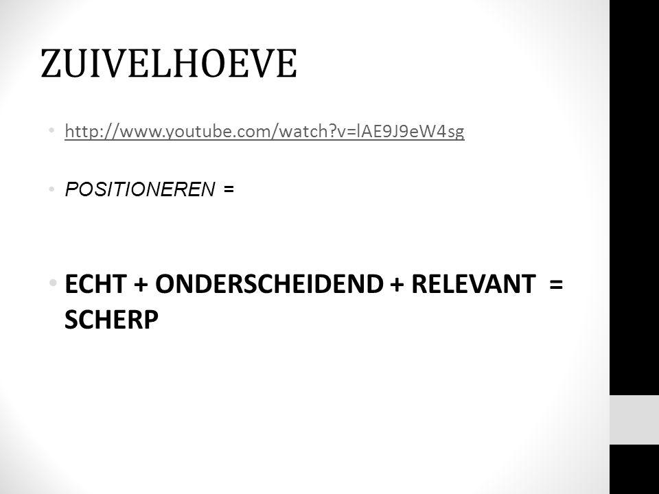 ZUIVELHOEVE http://www.youtube.com/watch?v=lAE9J9eW4sg POSITIONEREN = ECHT + ONDERSCHEIDEND + RELEVANT = SCHERP