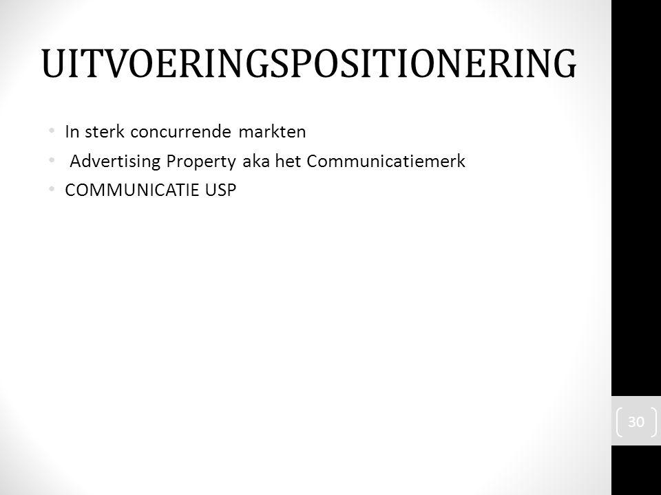 In sterk concurrende markten Advertising Property aka het Communicatiemerk COMMUNICATIE USP 30 UITVOERINGSPOSITIONERING