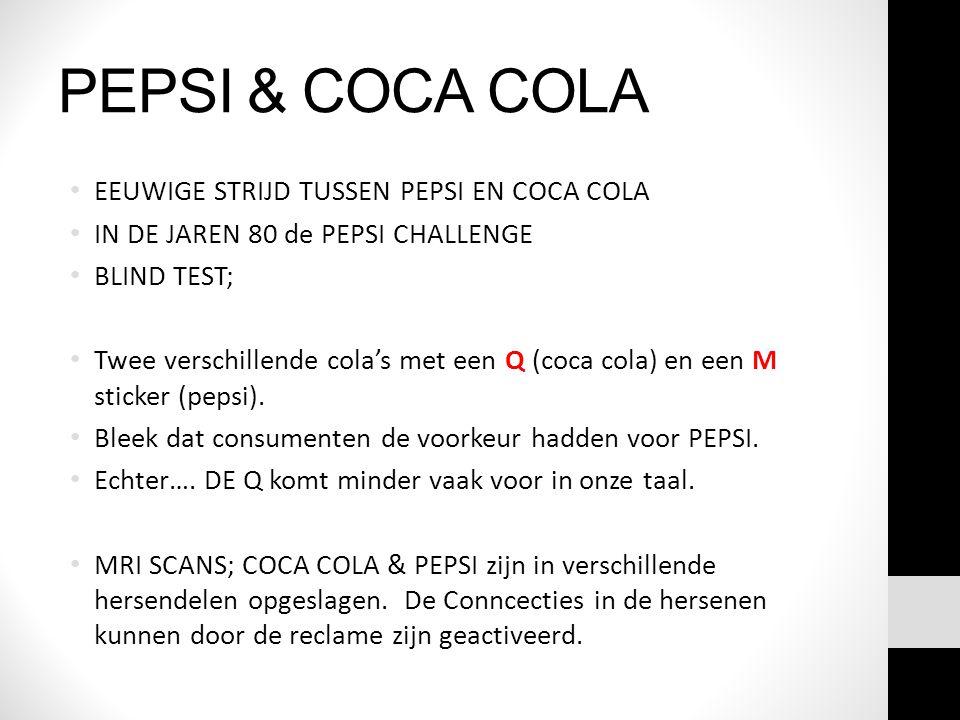 PEPSI & COCA COLA EEUWIGE STRIJD TUSSEN PEPSI EN COCA COLA IN DE JAREN 80 de PEPSI CHALLENGE BLIND TEST; Twee verschillende cola's met een Q (coca col