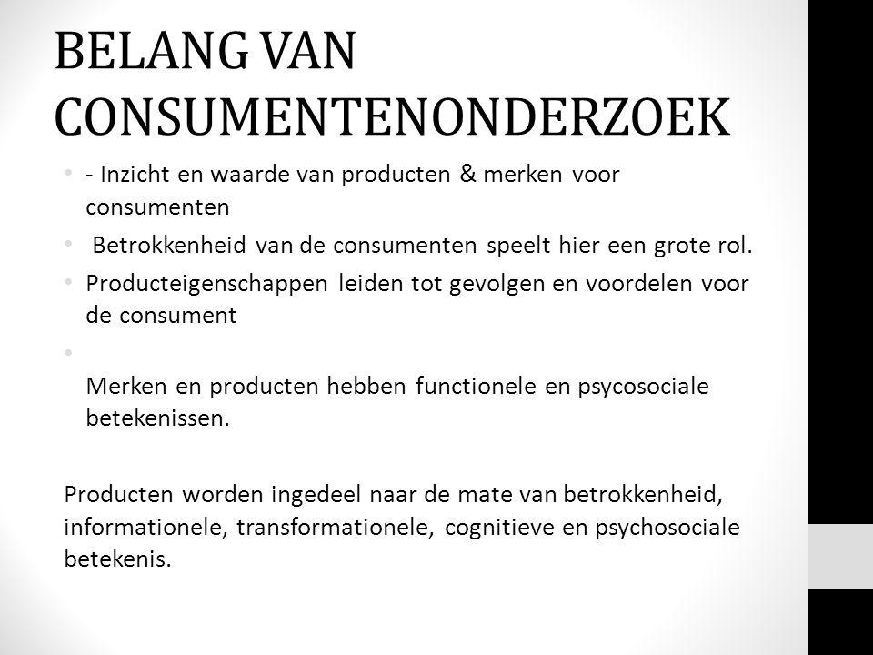 BELANG VAN CONSUMENTENONDERZOEK - Inzicht en waarde van producten & merken voor consumenten Betrokkenheid van de consumenten speelt hier een grote rol