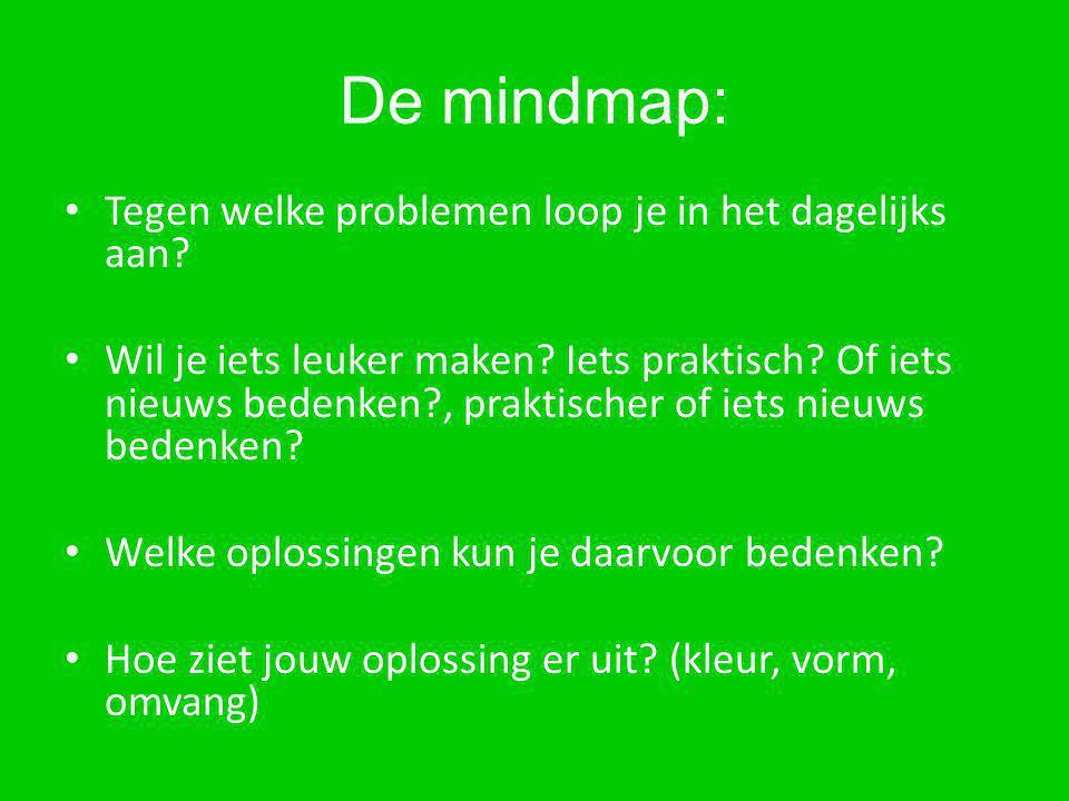 De mindmap: Tegen welke problemen loop je in het dagelijks aan? Wil je iets leuker maken? Iets praktisch? Of iets nieuws bedenken?, praktischer of iet
