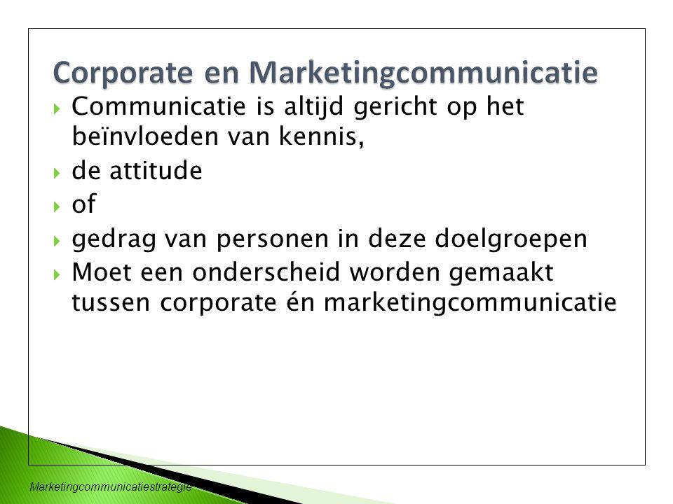  Communicatie is altijd gericht op het beïnvloeden van kennis,  de attitude  of  gedrag van personen in deze doelgroepen  Moet een onderscheid wo