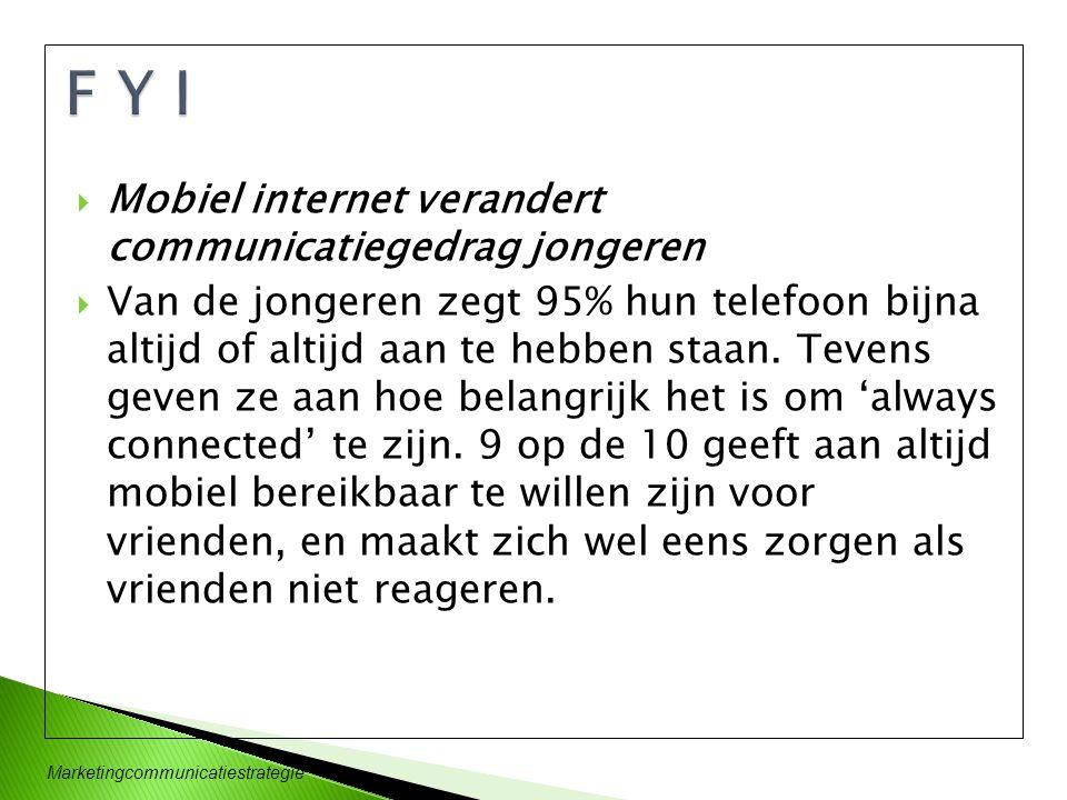 Marketingcommunicatiestrategie  Mobiel internet verandert communicatiegedrag jongeren  Van de jongeren zegt 95% hun telefoon bijna altijd of altijd