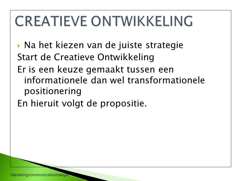  Na het kiezen van de juiste strategie Start de Creatieve Ontwikkeling Er is een keuze gemaakt tussen een informationele dan wel transformationele po