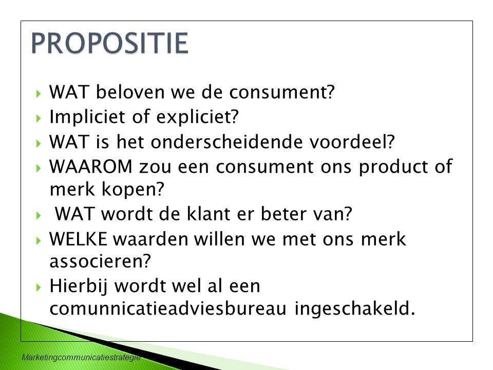  WAT beloven we de consument?  Impliciet of expliciet?  WAT is het onderscheidende voordeel?  WAAROM zou een consument ons product of merk kopen?