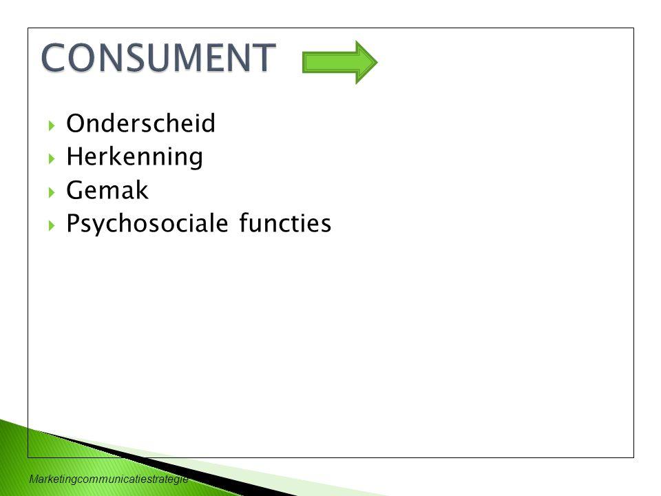 Marketingcommunicatiestrategie  Onderscheid  Herkenning  Gemak  Psychosociale functies
