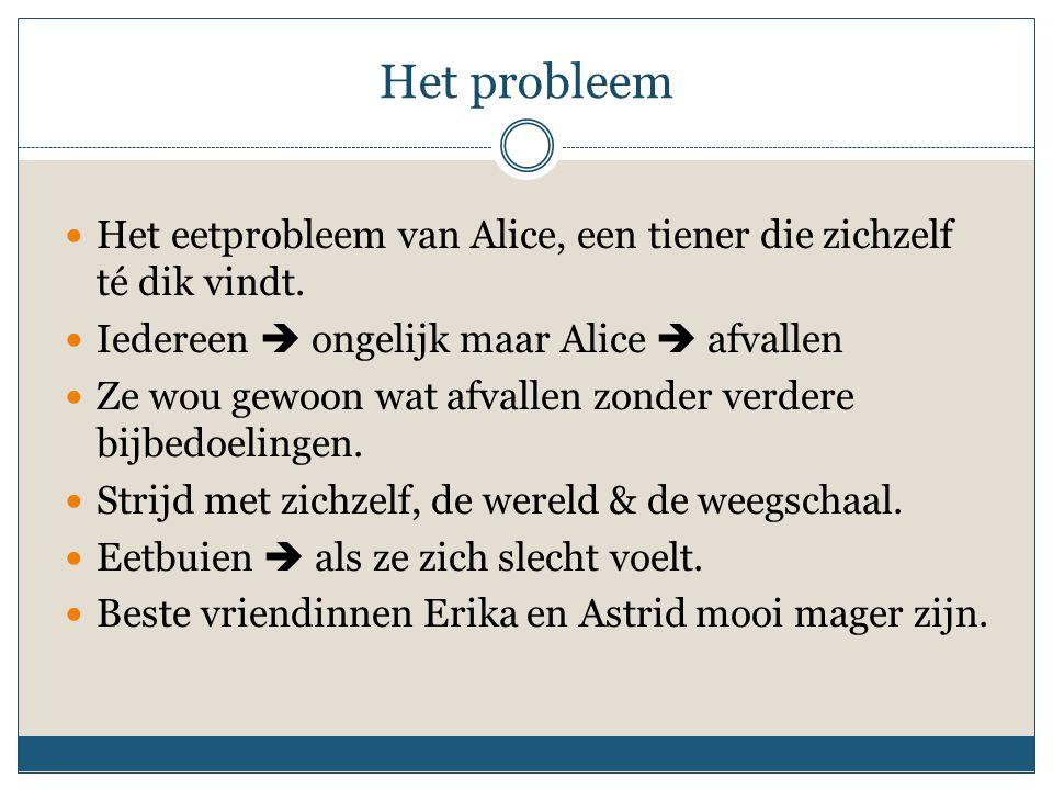 Het probleem Het eetprobleem van Alice, een tiener die zichzelf té dik vindt.