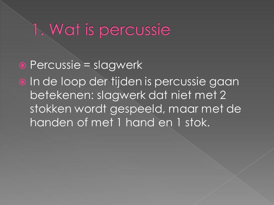  Percussie = slagwerk  In de loop der tijden is percussie gaan betekenen: slagwerk dat niet met 2 stokken wordt gespeeld, maar met de handen of met