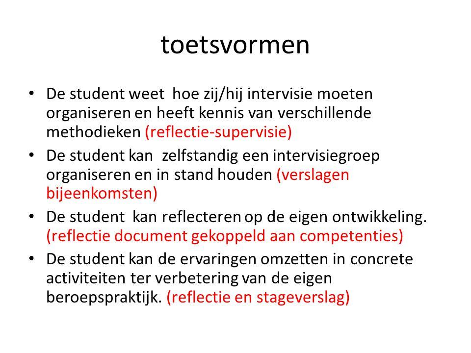 toetsvormen De student weet hoe zij/hij intervisie moeten organiseren en heeft kennis van verschillende methodieken (reflectie-supervisie) De student