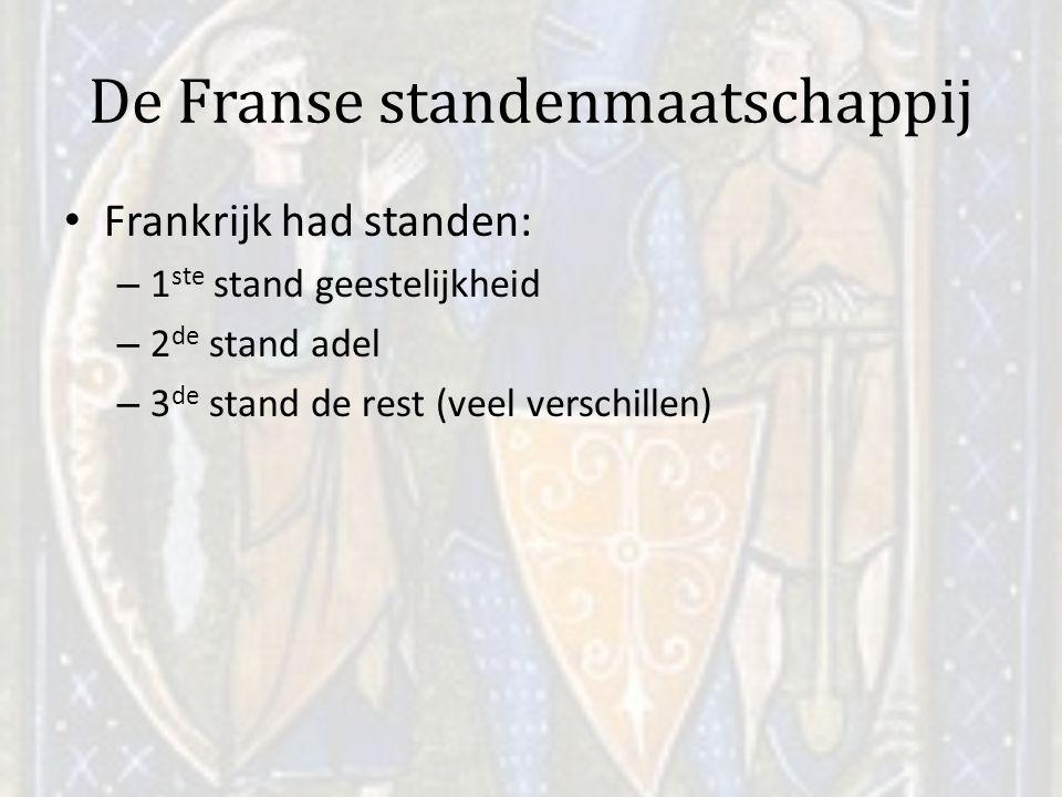 De Franse standenmaatschappij Frankrijk had standen: – 1 ste stand geestelijkheid – 2 de stand adel – 3 de stand de rest (veel verschillen)