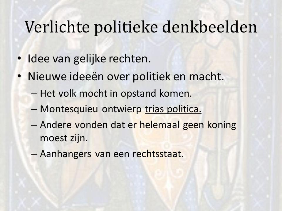 Verlichte politieke denkbeelden Idee van gelijke rechten. Nieuwe ideeën over politiek en macht. – Het volk mocht in opstand komen. – Montesquieu ontwi
