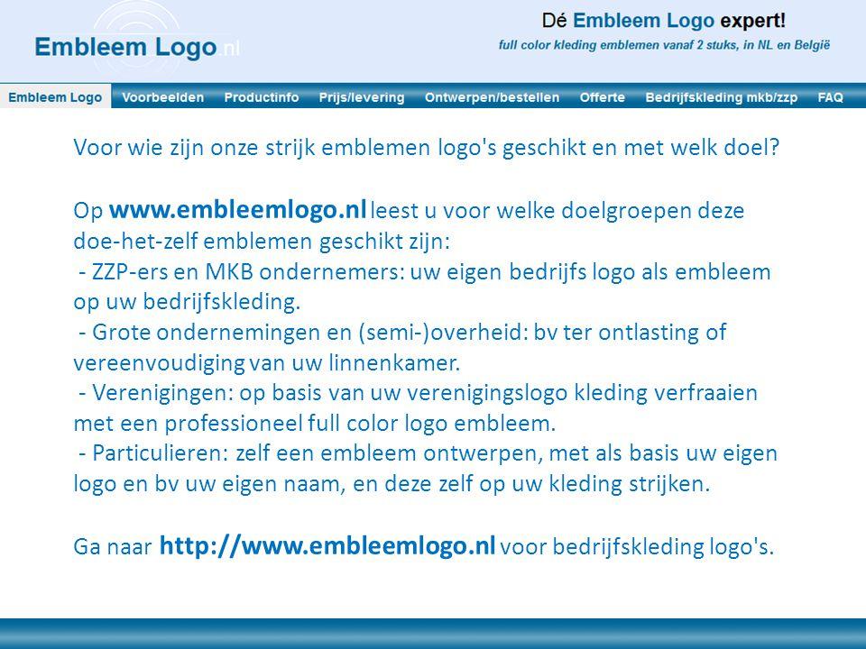 Voor wie zijn onze strijk emblemen logo's geschikt en met welk doel? Op www.embleemlogo.nl leest u voor welke doelgroepen deze doe-het-zelf emblemen g